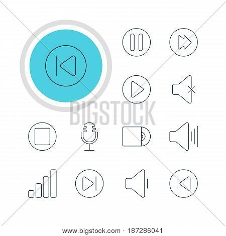 Vector Illustration Of 12 Melody Icons. Editable Pack Of Compact Disk, Start, Decrease Sound And Other Elements.