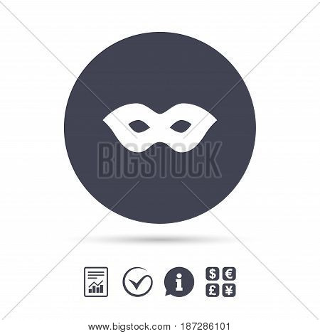 Mask sign icon. Anonymous spy access symbol. Report document, information and check tick icons. Currency exchange. Vector