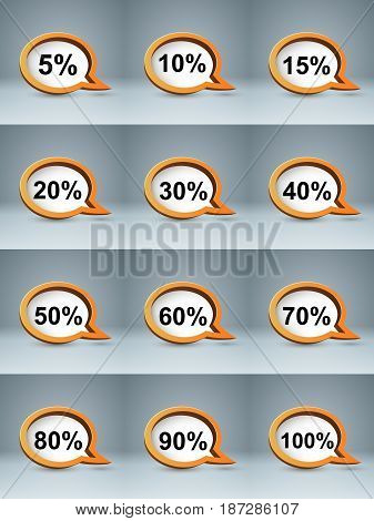 Realistic bubl speech 3D business infographics. Percent icon.