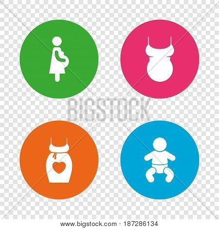 Maternity icons. Baby infant, pregnancy and shirt signs. Dress with heart symbol. Round buttons on transparent background. Vector