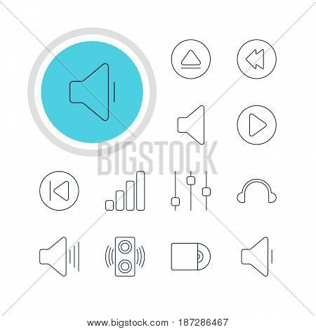 Vector Illustration Of 12 Melody Icons. Editable Pack Of Start, Reversing, Stabilizer And Other Elements.