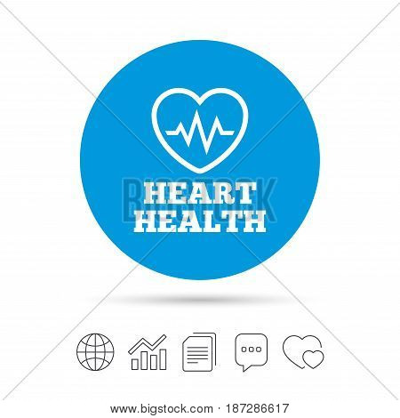 Heartbeat sign icon. Heart health cardiogram check symbol. Copy files, chat speech bubble and chart web icons. Vector