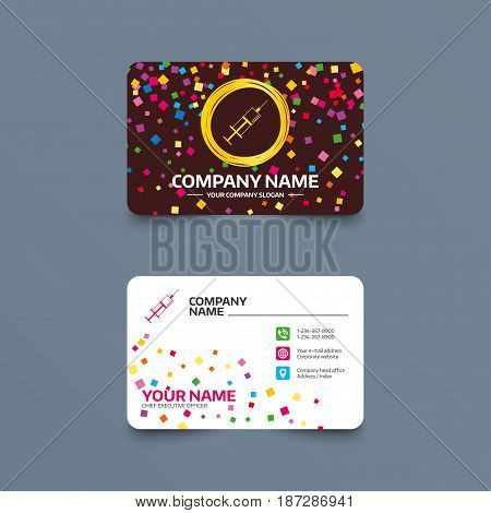 Business card template with confetti pieces. Syringe sign icon. Medicine symbol. Phone, web and location icons. Visiting card  Vector