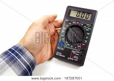 Digital Multimeter In Man's Hand On A White Background