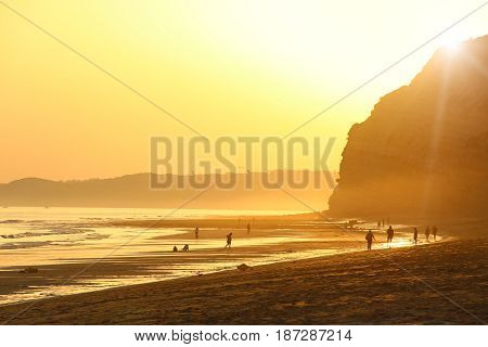 Porto de Mos Beach at sunset, Lagos, Algarve, Portugal