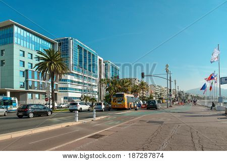 Modern Buildings On Promenade Des Anglais