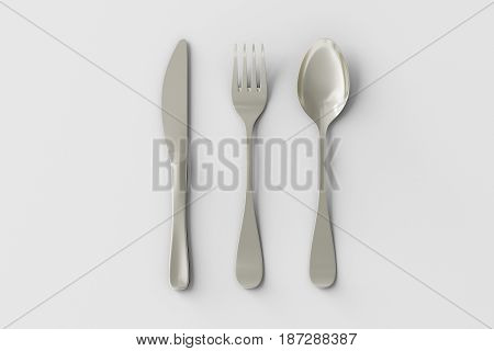 Knife, Fork And Spoon Isolated