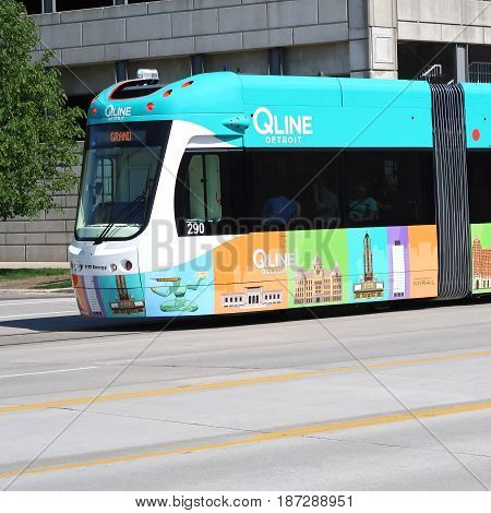 DETROIT - May 14, 2017. The new Detroit streetcar line, which began operation in downtown Detroit, Michigan on May 12, 2017, is called the Q Line and runs curbside on both sides of Woodward Avenue.