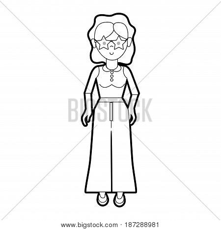 nice woman with blouse and pants cloth, vector illustration