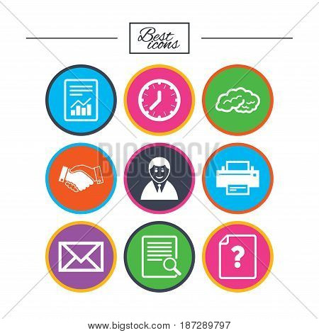 Office, documents and business icons. Deal, mail and businessman signs. Report, magnifier and brain symbols. Classic simple flat icons. Vector