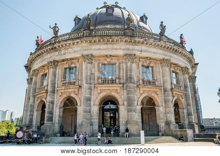 Berlin Germany - may 19 2017: The front facade of the Bode Museum in Berlin Germnay.