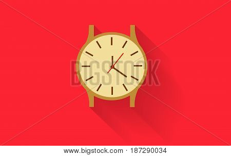 gold watch vector On a red background  eps 10