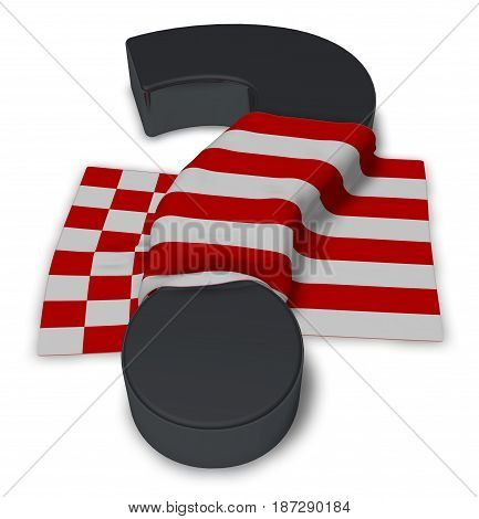 question mark and flag of bremen - 3d illustration