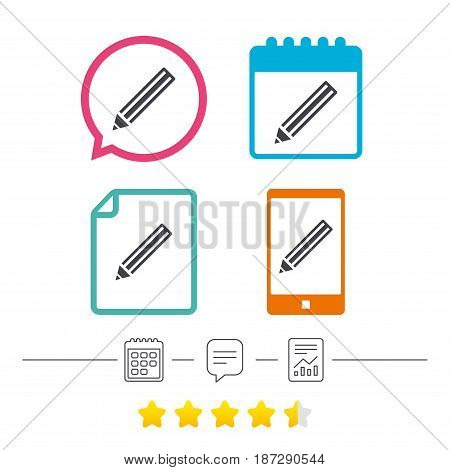 Pencil sign icon. Edit content button. Calendar, chat speech bubble and report linear icons. Star vote ranking. Vector