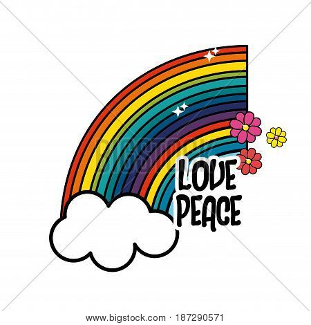 rainbow and cloud with peace and love message, vector illustration