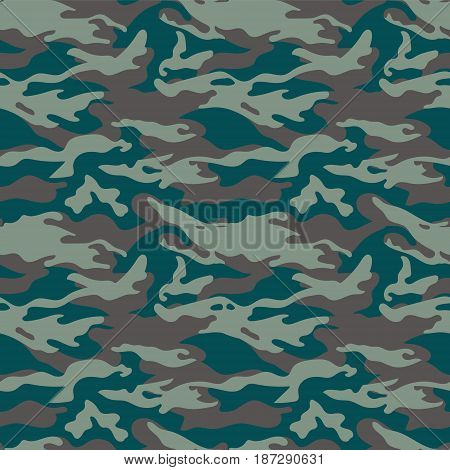 Military camouflage seamless pattern. Three colors. Woodland style. For web and print. EPS10