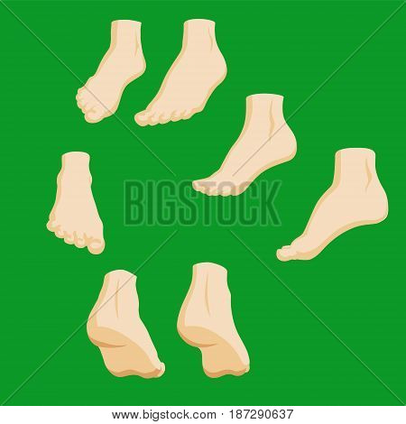 Set of cartoon-style girl foots in different positions. EPS10