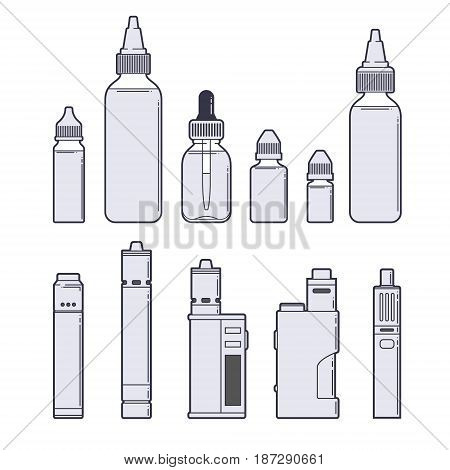Vaping vector set. Juices and devices outline on white background. EPS10