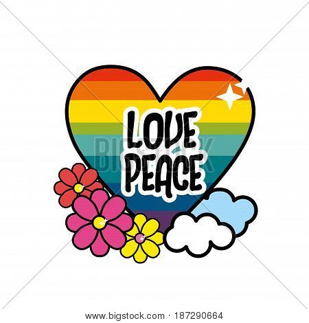 nice hippie heart with flowers and cloud, vector illustration