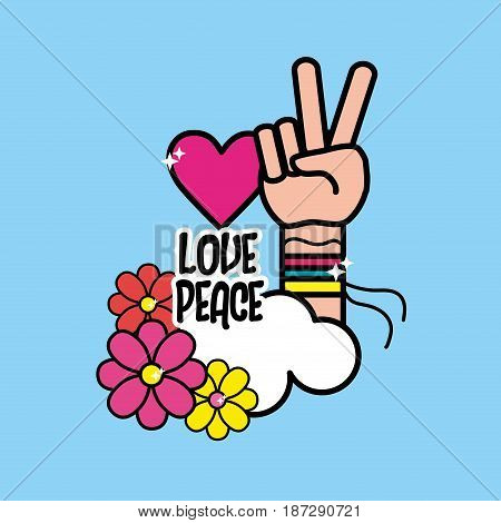 nice hippie symbol with hand of peace and love, vector illustration