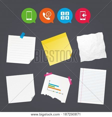 Business paper banners with notes. Phone icons. Smartphone incoming call sign. Call center support symbol. Cellphone keyboard symbol. Sticky colorful tape. Speech bubbles with icons. Vector