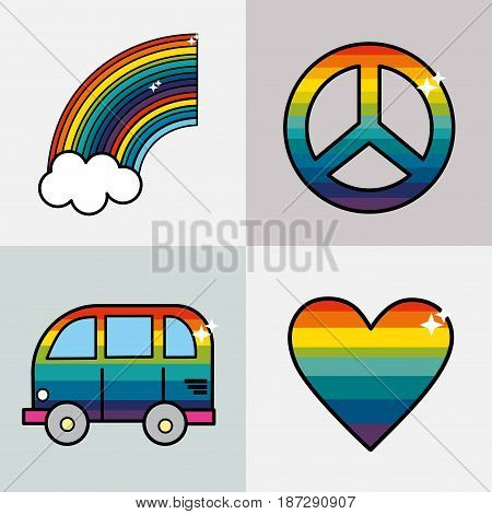set symbols to representative the hippies, vector illustration