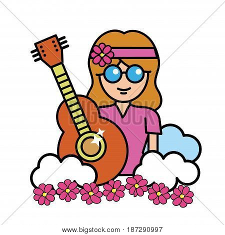 pretty hippie woman with guitar and cloud, vector illustration