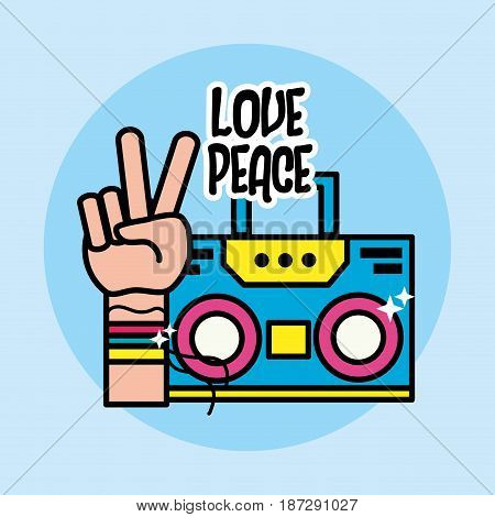 cute radio and hand symbol of peace and love, vector illustration
