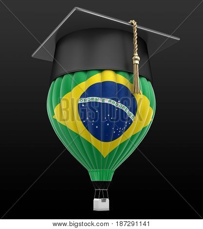 3d illustration. Hot Air Balloon with Brazilizn Flag and Graduation cap. Image with clipping path