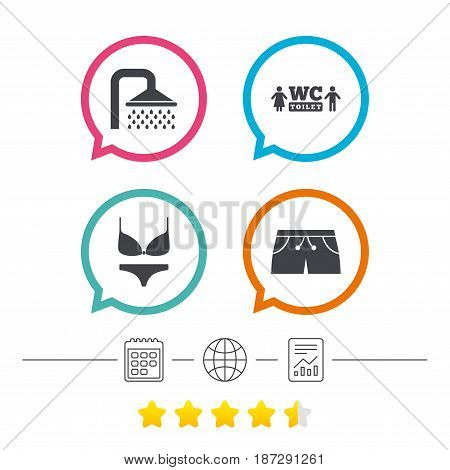 Swimming pool icons. Shower water drops and swimwear symbols. WC Toilet sign. Trunks and women underwear. Calendar, internet globe and report linear icons. Star vote ranking. Vector