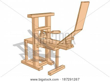 printing press isolated on a white background