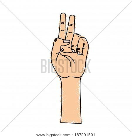 hand with middle finger and fingerprint up symbol, vector illustration