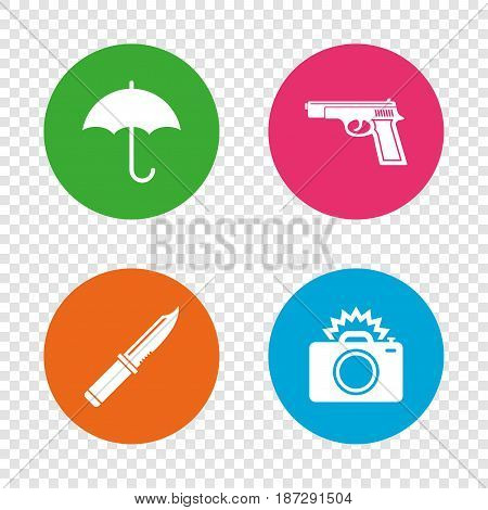 Gun weapon icon.Knife, umbrella and photo camera with flash signs. Edged hunting equipment. Prohibition objects. Round buttons on transparent background. Vector