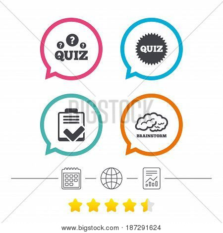 Quiz icons. Brainstorm or human think. Checklist symbol. Survey poll or questionnaire feedback form. Questions and answers game sign. Calendar, internet globe and report linear icons. Vector