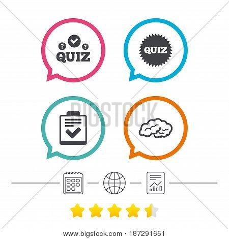 Quiz icons. Human brain think. Checklist symbol. Survey poll or questionnaire feedback form. Questions and answers game sign. Calendar, internet globe and report linear icons. Star vote ranking