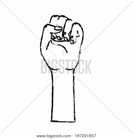 figure nice hands fist up celebrating, vector illustration