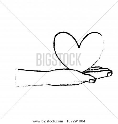 figure cute hand with nice heart over, vector illustration