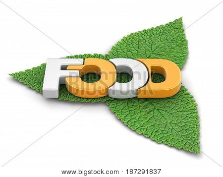 3d illustration. Food text on leaves. Image with clipping path