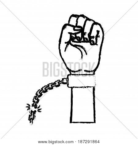 figure nice hands fist up with metallic chain, vector illustration