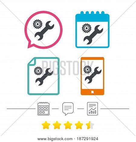 Repair tool sign icon. Service symbol. Hammer with wrench. Calendar, chat speech bubble and report linear icons. Star vote ranking. Vector