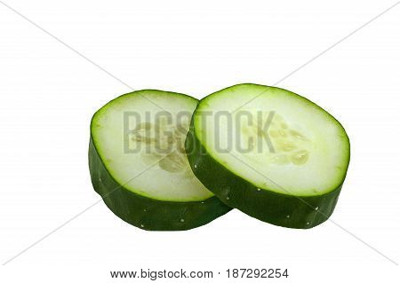 Isolated cucumber. Fresh cucumber slice isolated on white background as package design element.