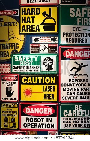 All kind of signs danger on a construction area