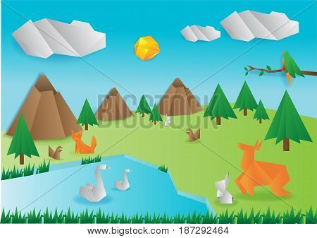 Origami wild paper animals,  isolated, vector illustration.