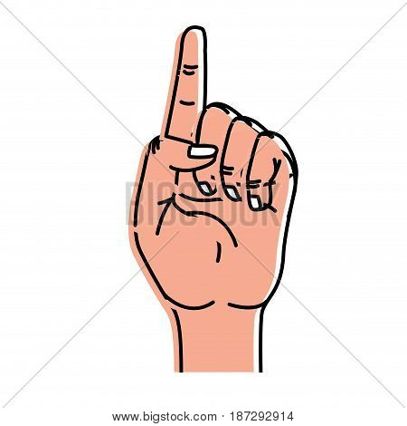 cute hand with fingerprint up symbol, vector illustration