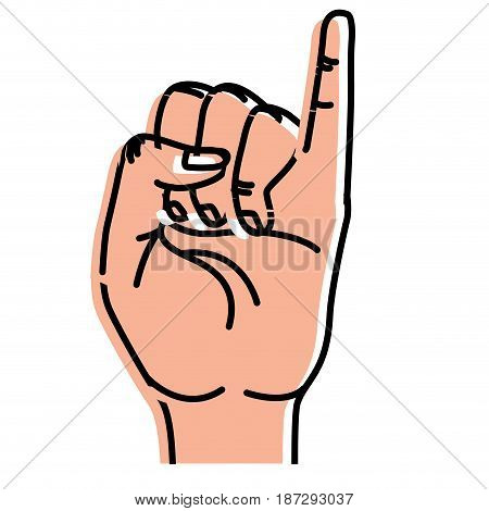 cute hand with pinky up symbol, vector illustration