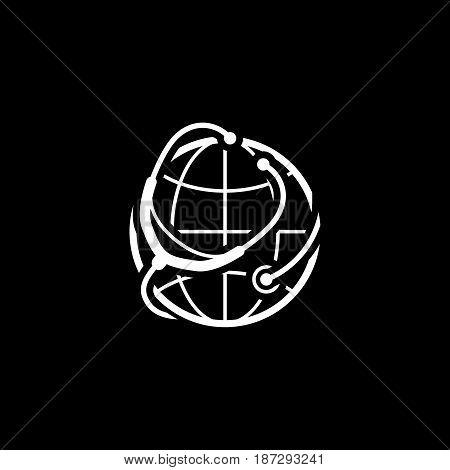 Global Health Care Icon. Flat Design. Isolated Illustration.