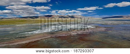 An Unusually Bright And Colorful Panorama Of The Surface Of The Water Is High Mountain Lake Of Tso K