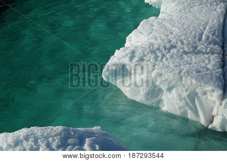 turquise water with drift ice, sunny and cold