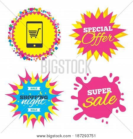 Sale splash banner, special offer star. Smartphone with shopping cart sign icon. Online buying symbol. Shopping night star label. Vector