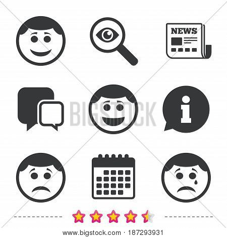Circle smile face icons. Happy, sad, cry signs. Happy smiley chat symbol. Sadness depression and crying signs. Newspaper, information and calendar icons. Investigate magnifier, chat symbol. Vector